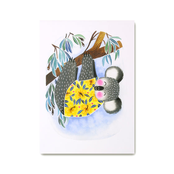 Koala Art Print with illustrated cute koala wearing a Hawaiian shirt