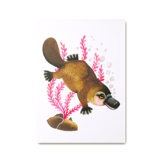 Platypus Art Print with cute platypus illustration
