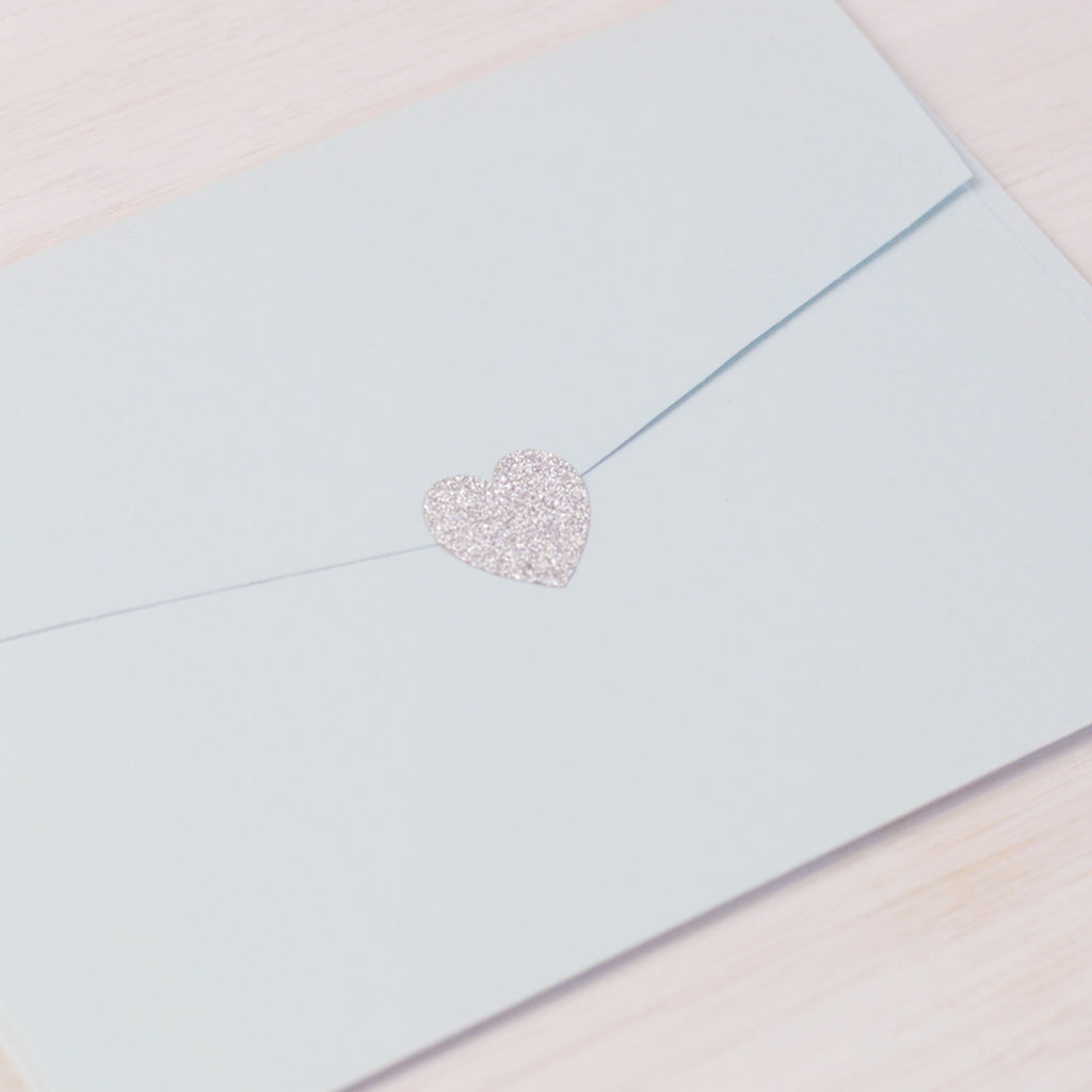 Silver Glitter Mini Heart Sticker Seal