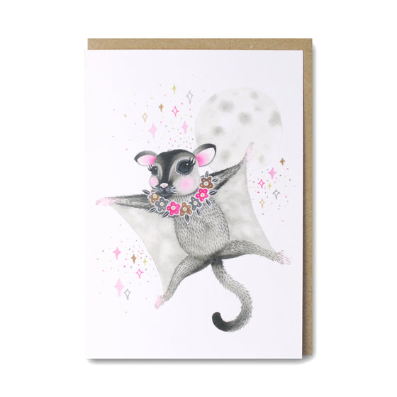 Sugar Glider card with illustration of cute sugar glider