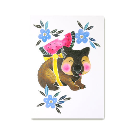Wombart Art Print with cute wombat illustration