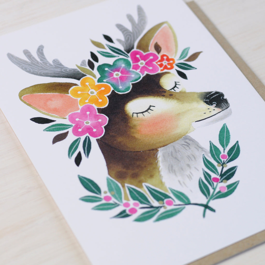 Greeting Card with illustrated deer wearing a flower crown