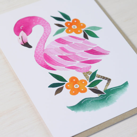 Greeting Card featuring a pink flamingo illustration