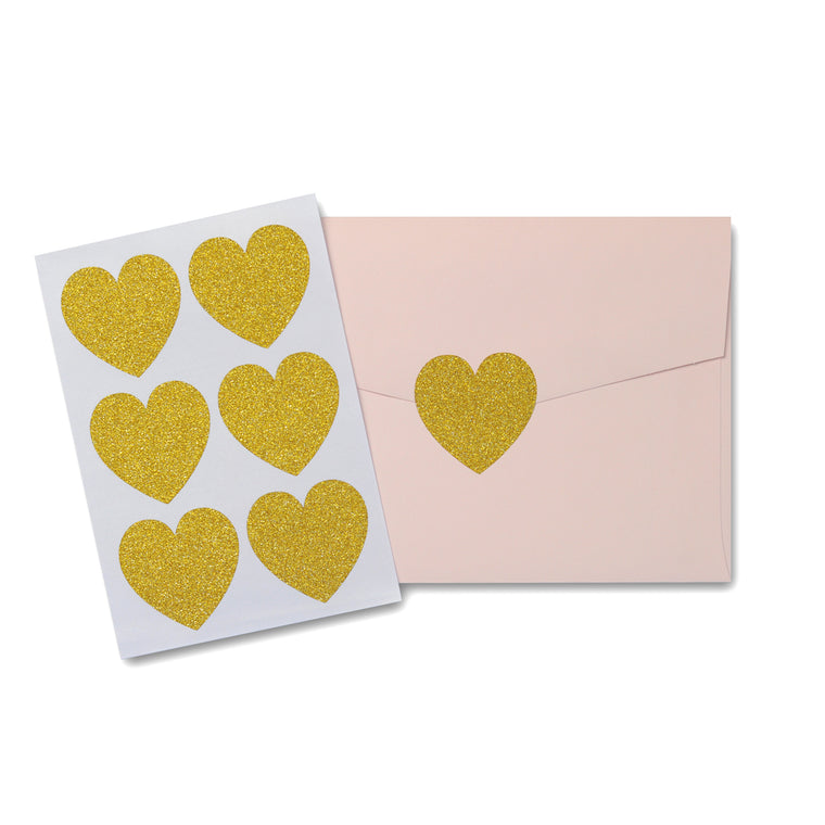 Gold Glitter Love Heart Stickers Large