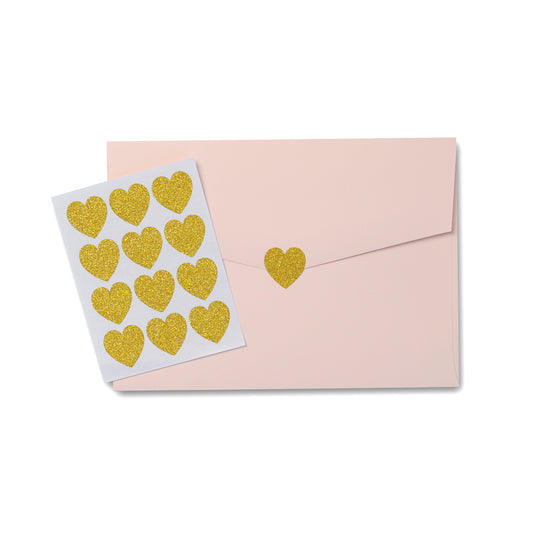 Cute Gold Glitter Heart Stickers