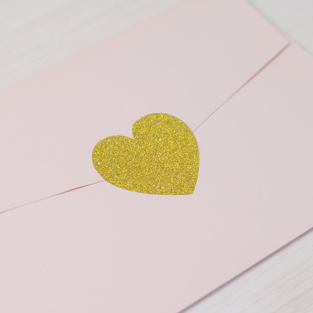 Large Heart Stickers in Gold Glitter