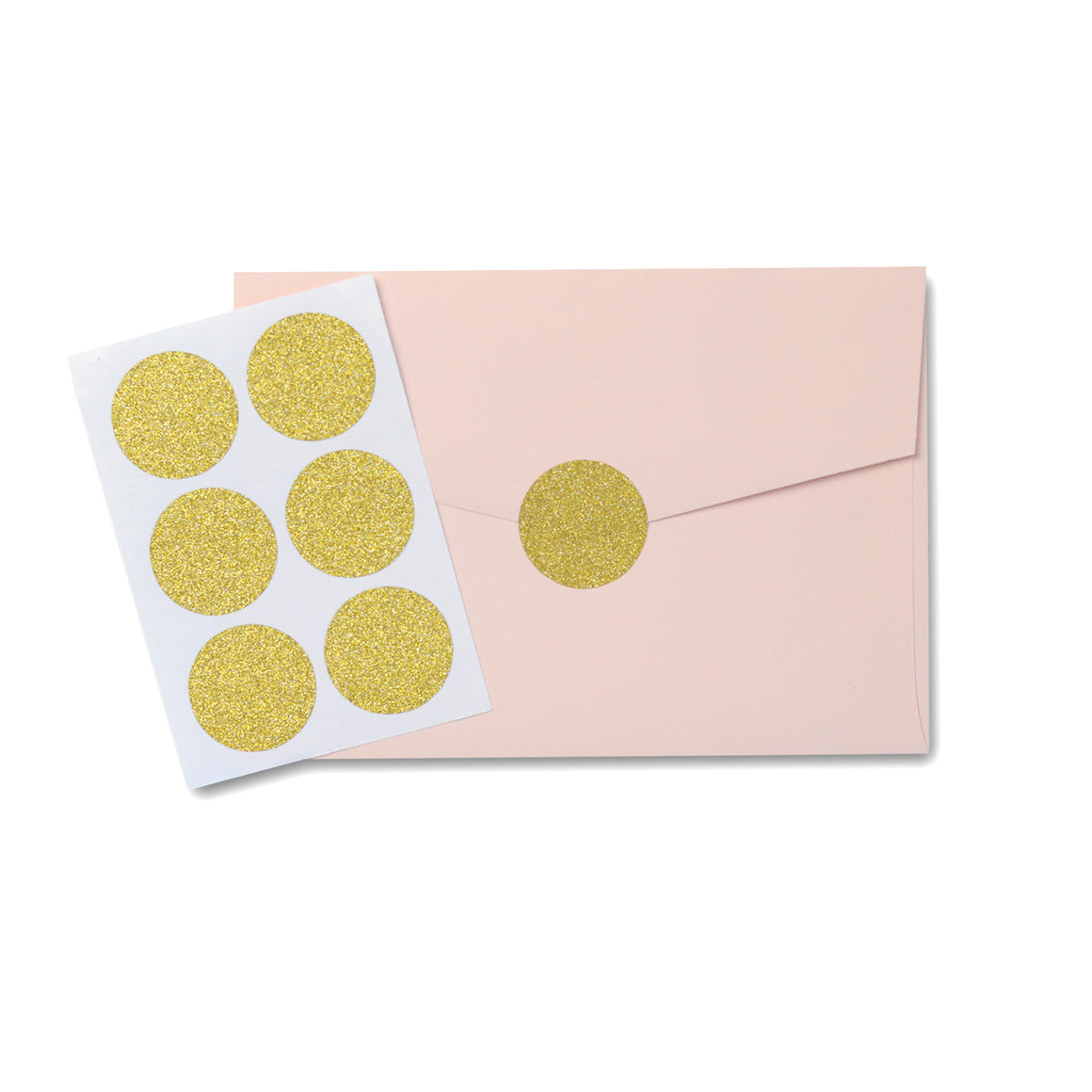 Gold Glitter Circle Sticker Seal