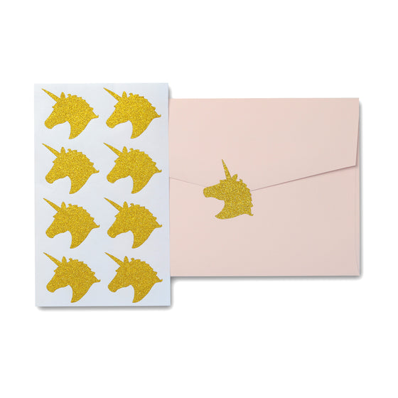 Unicorn Stickers Gold Glitter