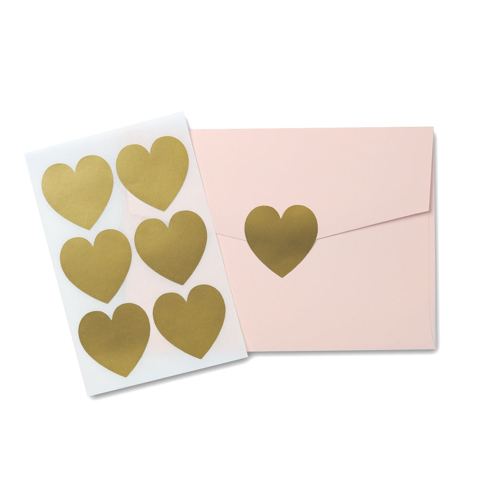 Gold Love Heart Stickers