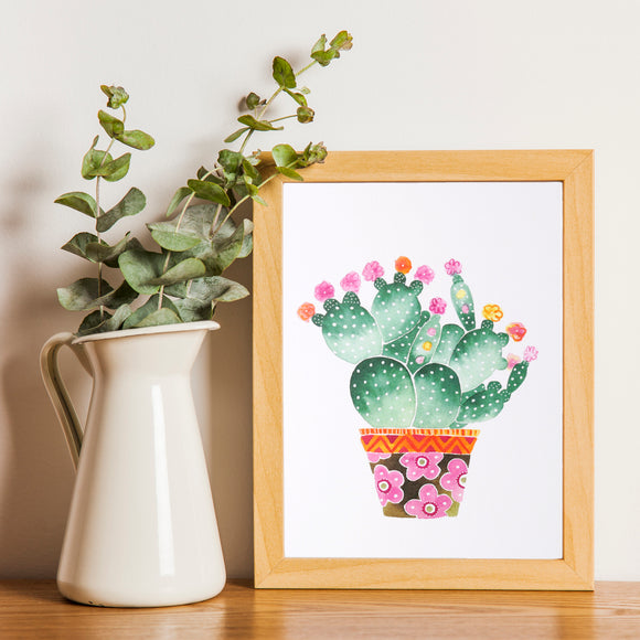 Cactus Art Print featuring illustrated prickly pear cactus