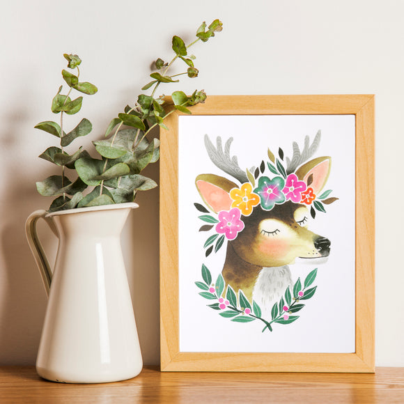 Deer Art Print featuring illustrated deer wearing a flower crown