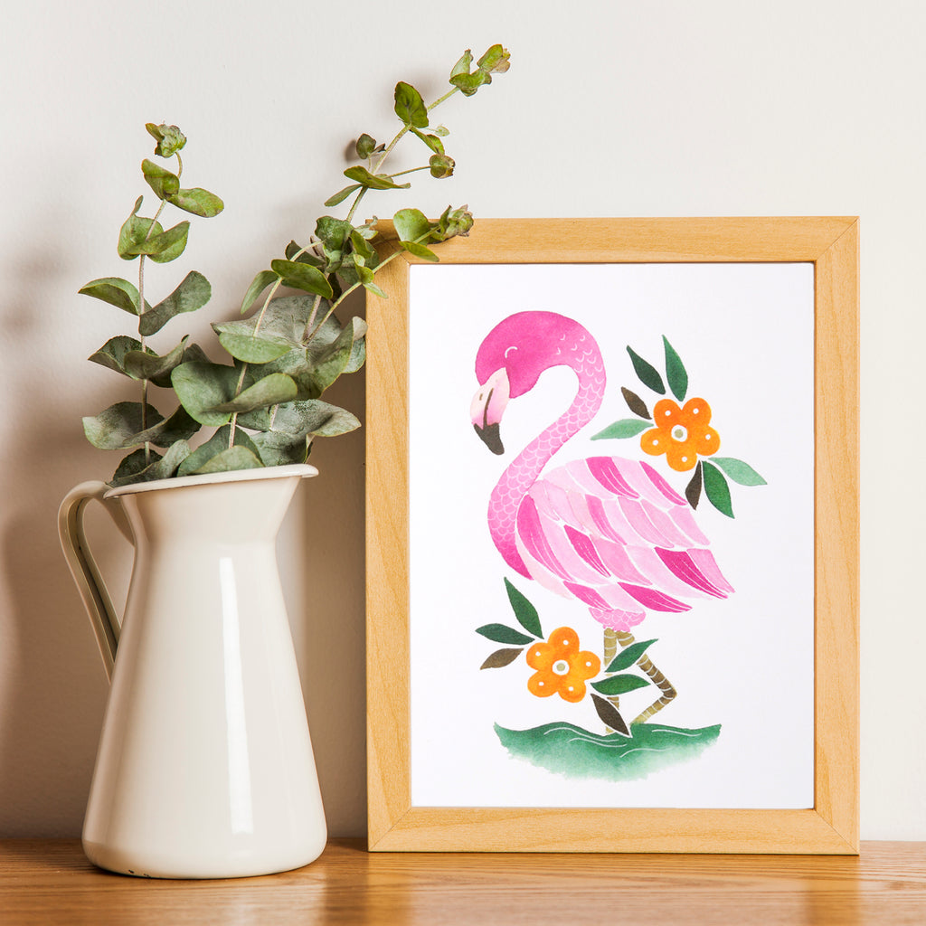 Flamingo Art Print for room decor
