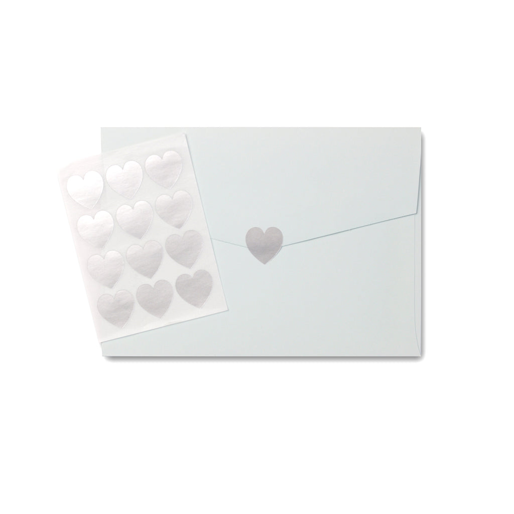 Mini silver heart sticker seals. Metallic silver heart stickers 48 pack.