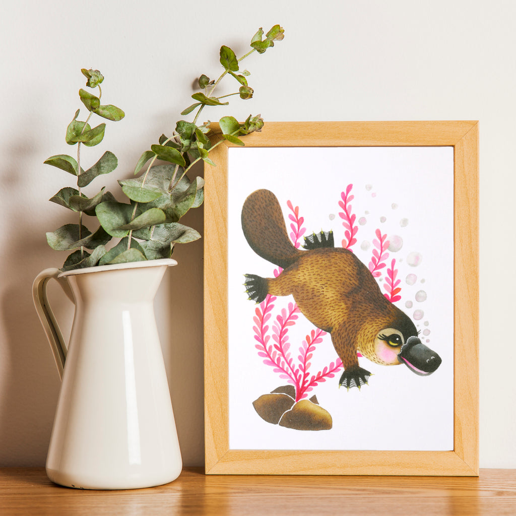 Cute Platypus Art Print with platypus illustration