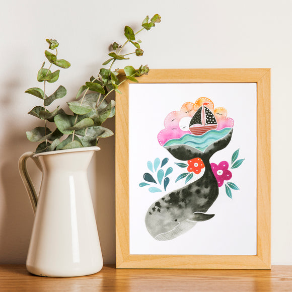 Whale Art Print with cute whale illustration