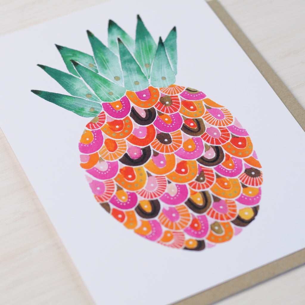 Greeting card featuring a stylised pink pineapple