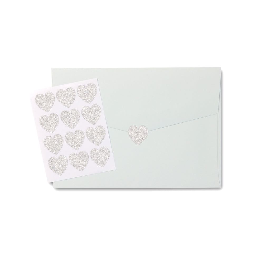 Cute Sparkly Silver Heart Stickers