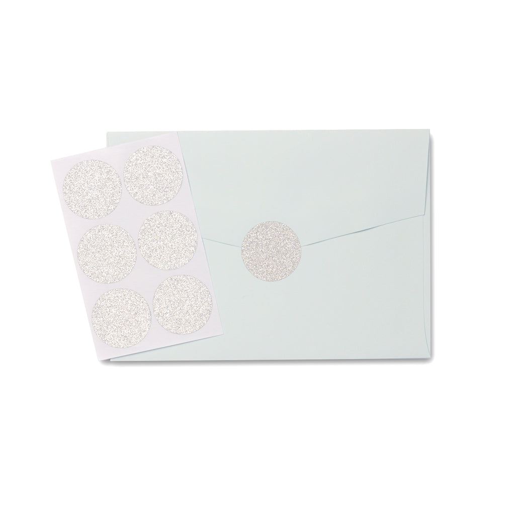 Silver Glitter Circle Sticker Seal