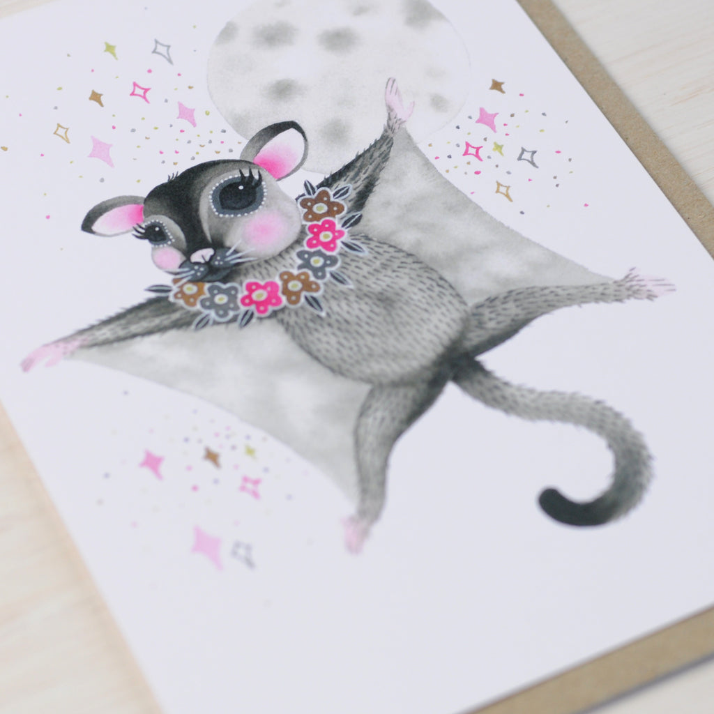 Greeting card featuring a cute sugar glider illustration