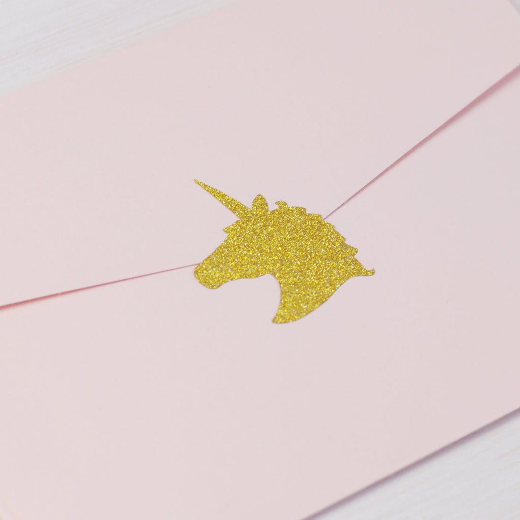 Gold Glitter Sparkly Unicorn Sticker Seals