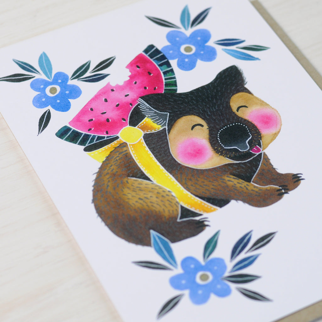 Cute illustrated birthday card featuring a wombat with a slice of watermelon
