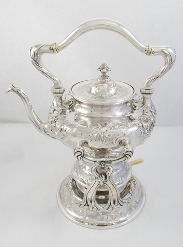 Sterling Silver Art Nouveau Hot Water Kettle and Stand by Shreve, Crump, & Low
