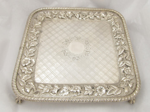 Sterling Silver Square Footed Card Tray by Peter Krider