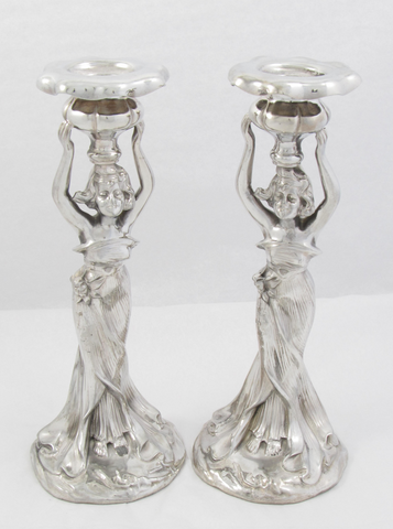 Set of 2 Silver Plate Art Nouveau Figural Candlesticks