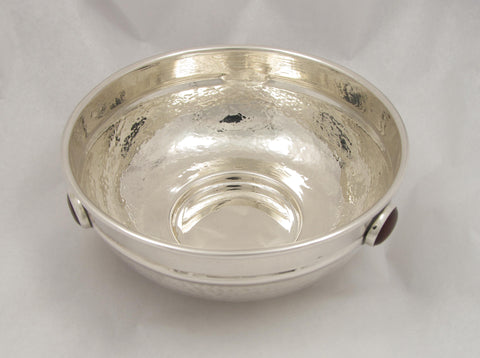 Hand Hammered 900 Silver Bowl Set with three Carnelians