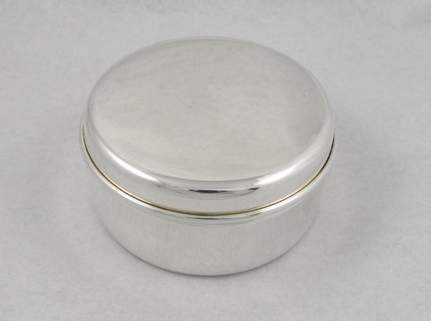 Round Sterling Silver Box with Velvet Lining