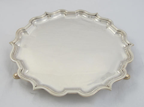 Sterling Silver Salver with Chippendale Rim by Elkington