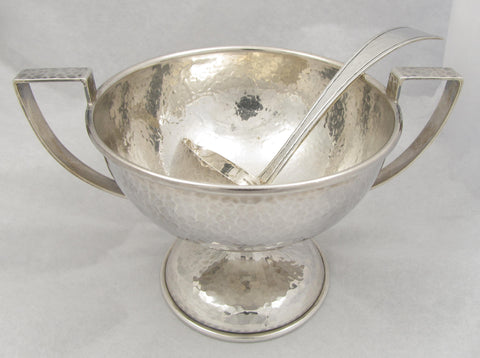 Marshall Field Arts & Crafts Sterling Silver Bowl and Ladle