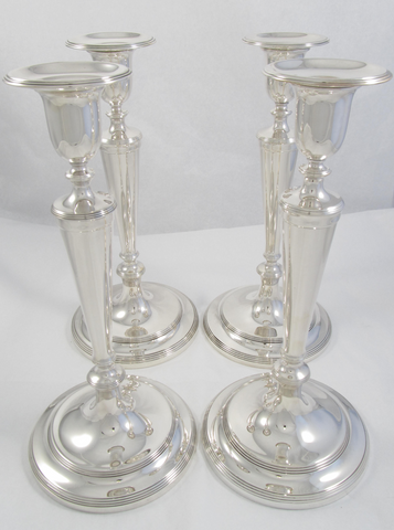 Set of 4 Sterling Silver Candlesticks by Tiffany & Co.