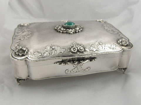 European Jewelry Box with Green Stone