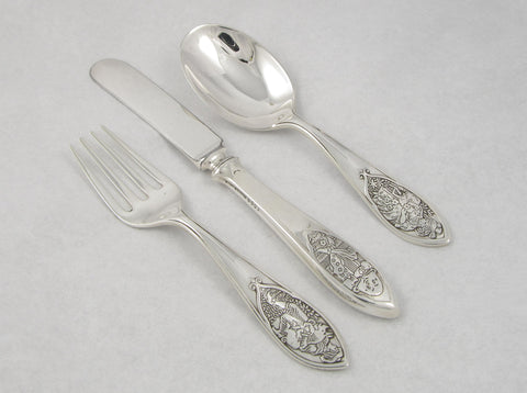 """Nursery Rhymes"" Sterling Silver Feeding Set"