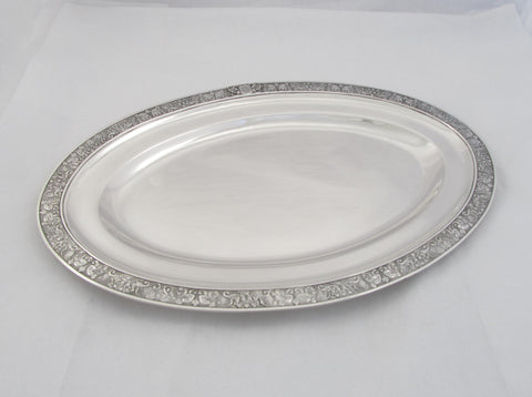 Sterling Silver Oval Tray with Mythological Pattern and Fancy Script Monogram