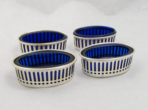 Sterling Salt Cellars with Blue Cobalt Liners by Watson