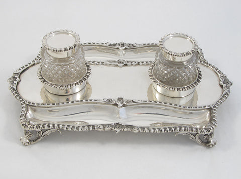 Sterling Silver Ink Stand with Two Cut Glass Pots by Goldsmiths and Silversmiths Ltd.
