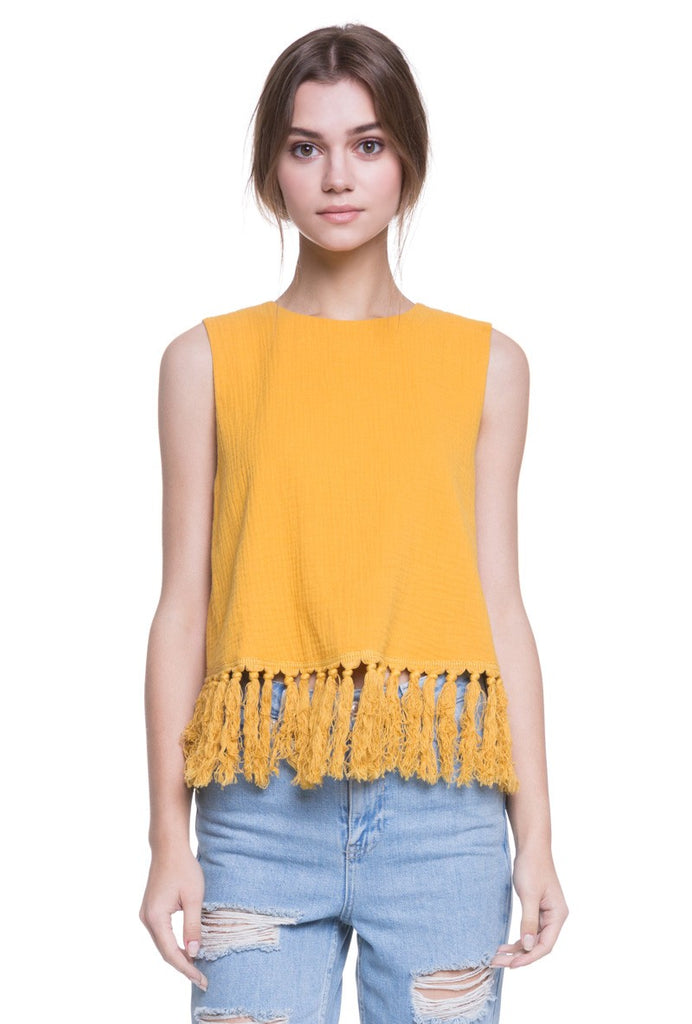 Sunflower Fringe Top