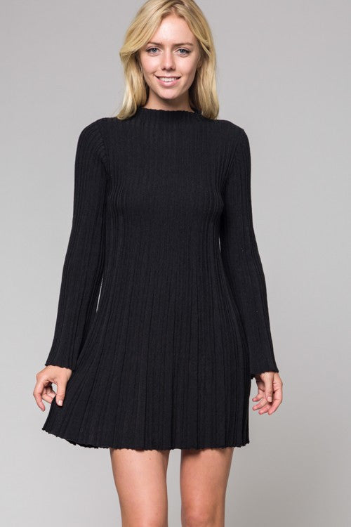Black Ribbed Knit Dress