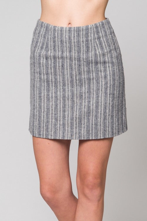 Grey Striped Mini Skirt