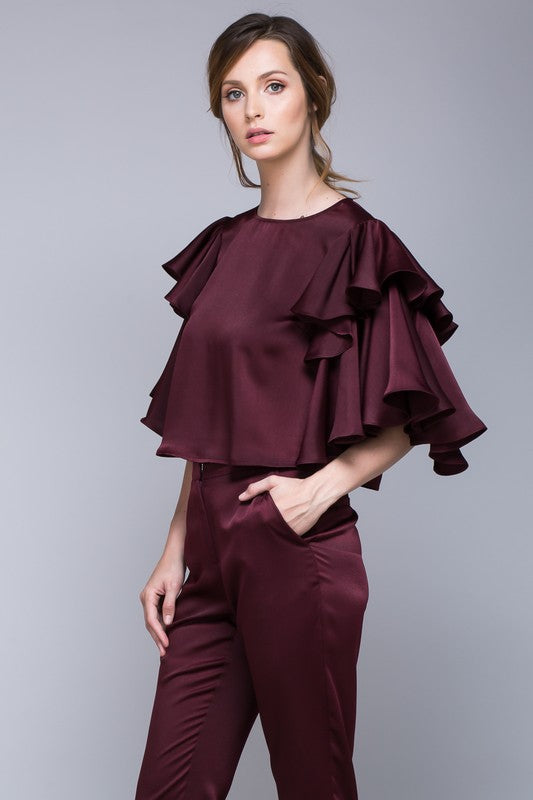 Oxblood Ruffle Sleeve Blouse