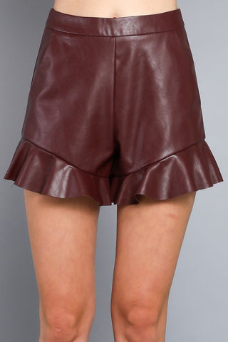 Ox Blood Leather Shorts