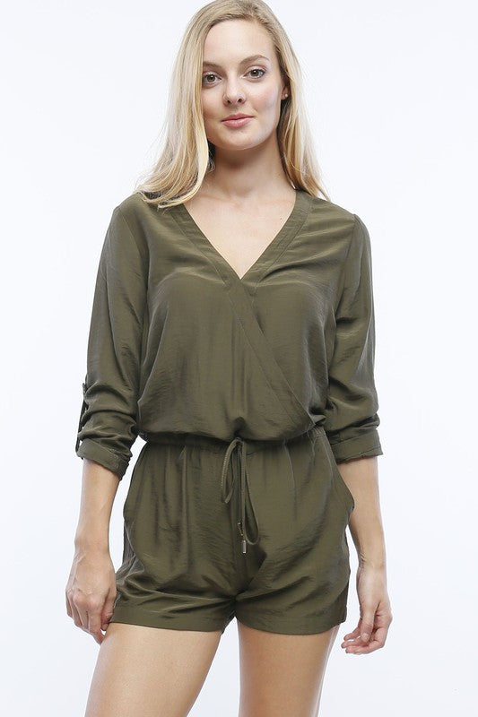Olive Long Sleeve Romper