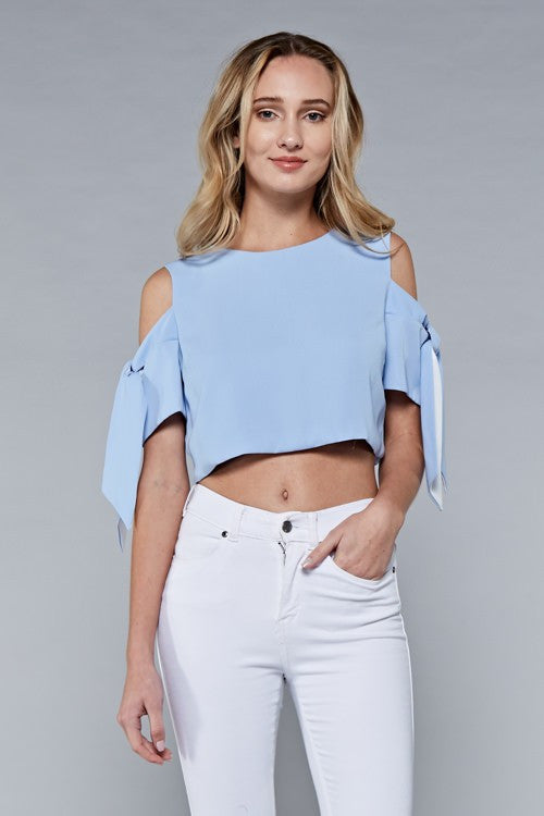 Cropped Color Block Tie Top