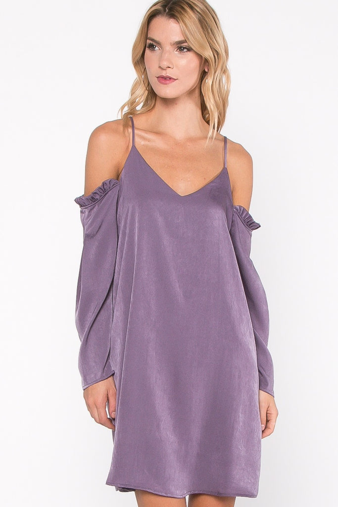 Plum Cold Shoulder Dress