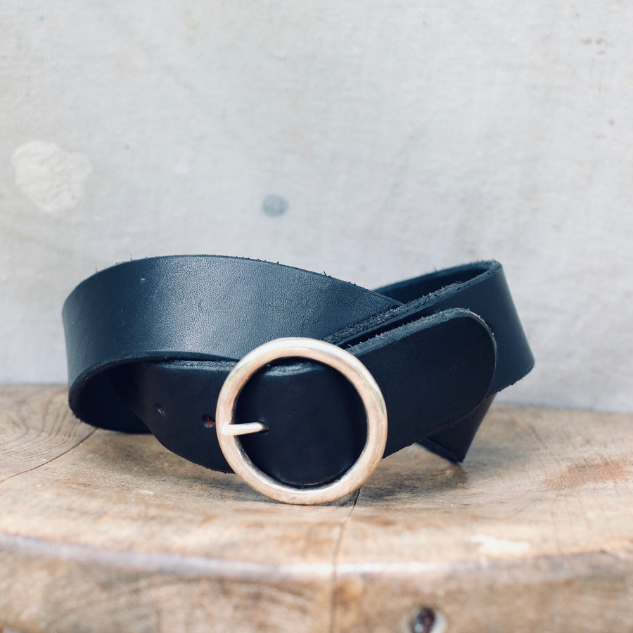 Belt w Small Round SS Buckle - Black