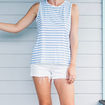 Triple Stripe Muscle Tank with Back Seam - White