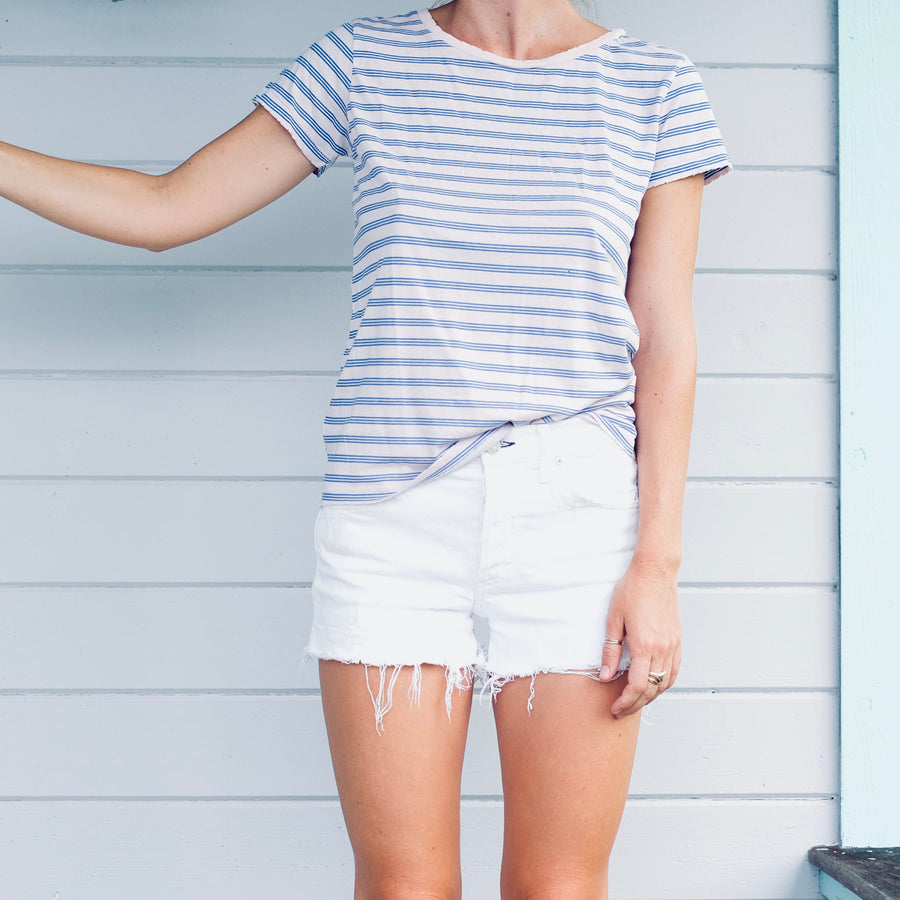 Triple Stripe Scoop Neck Tee - Pink