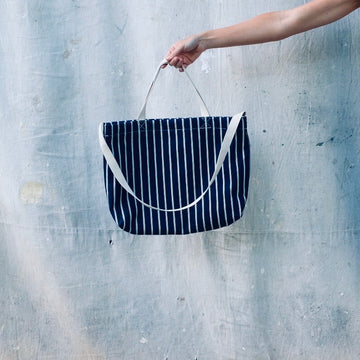 Small Tote - Denim Ticking